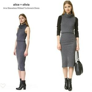 Alice Olivia Small Arra Ribbed Wool Dress Gray